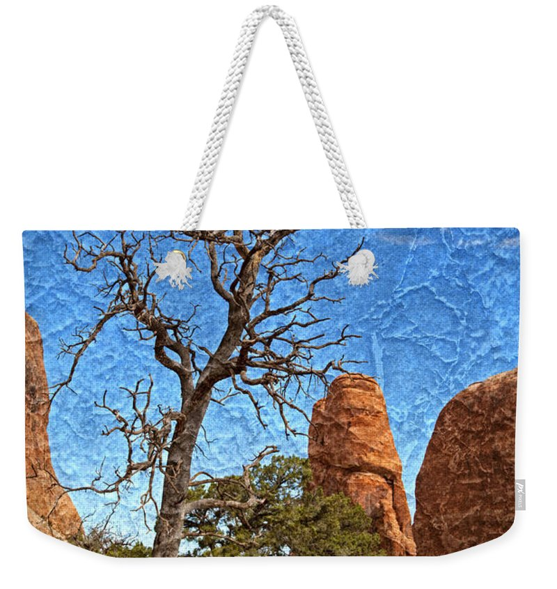 Dead Tree Weekender Tote Bag featuring the photograph Rock Garden Skeleton Arches National Park by John Stephens