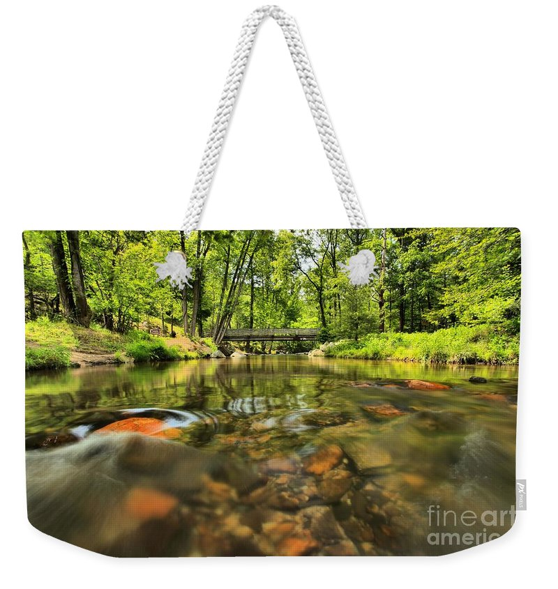 Stone Mountain State Park Weekender Tote Bag featuring the photograph Rock Hole by Adam Jewell