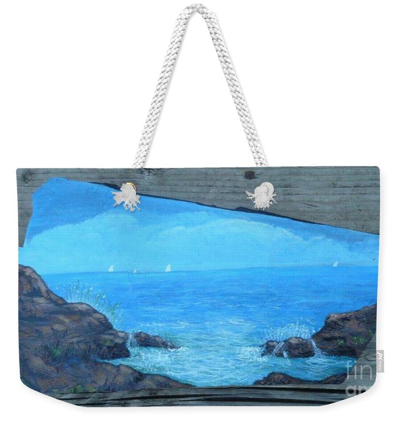 Ocean Weekender Tote Bag featuring the painting Rock Painting-ocean Sailboats by Monika Shepherdson