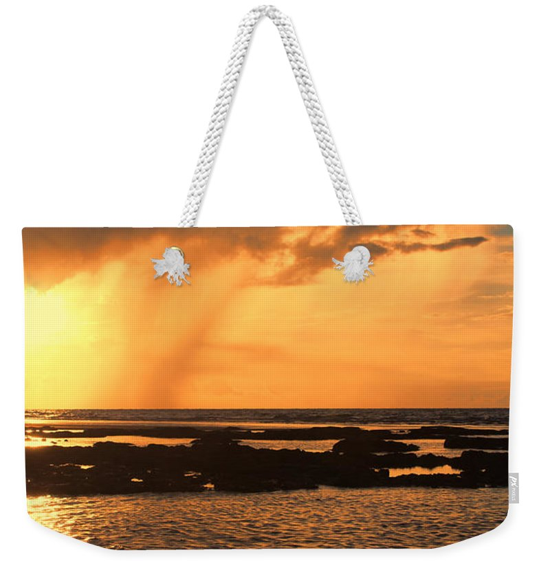Sunset Weekender Tote Bag featuring the photograph Rockpool Sunset by Douglas Barnard