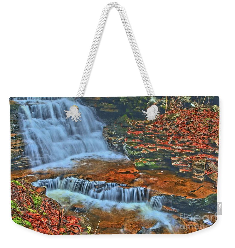 Waterfalls Weekender Tote Bag featuring the photograph Rocky Pool Falls by Adam Jewell