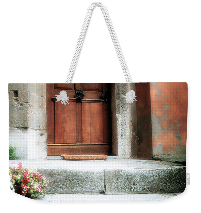 Rome Weekender Tote Bag featuring the photograph Roman Door And Steps Rome Italy by Mike Nellums