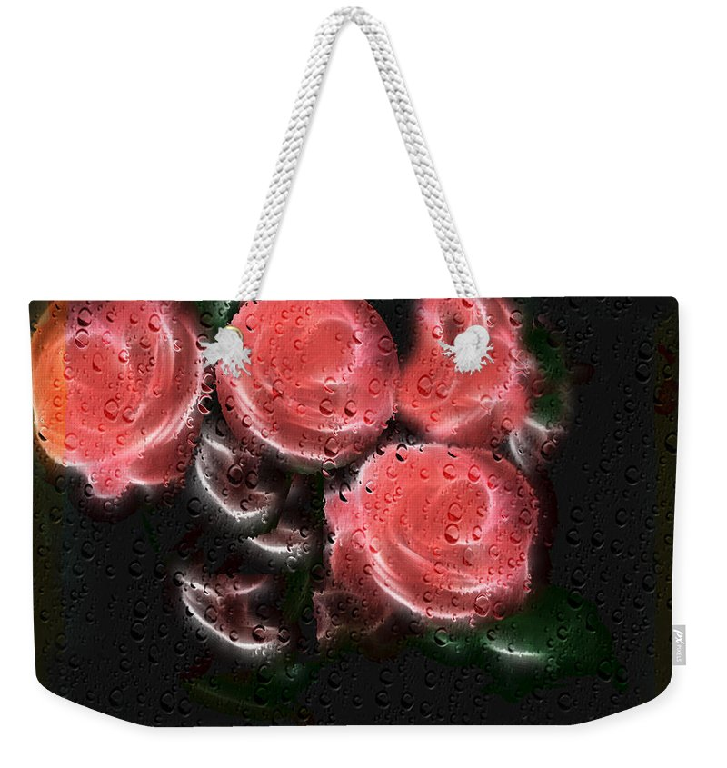Flowers Weekender Tote Bag featuring the photograph Roses In The Rain by Ericamaxine Price