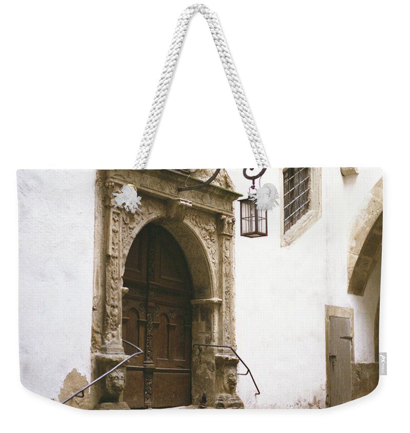 Door Weekender Tote Bag featuring the photograph Rothenburg Rathaus Door by John Bowers