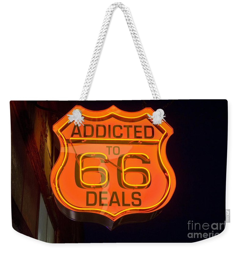 Classic Car Weekender Tote Bag featuring the photograph Route 66 Addicted by Bob Christopher