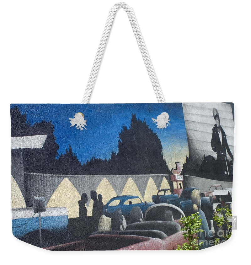 Wurlitzer Weekender Tote Bag featuring the photograph Route 66 Brandon Mural by Bob Christopher