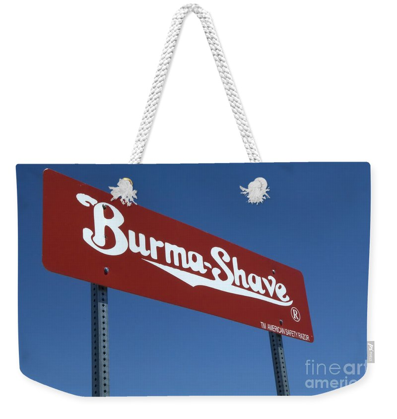 Flames Weekender Tote Bag featuring the photograph Route 66 Burma Shave by Bob Christopher