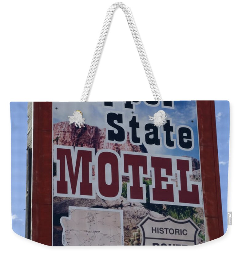 Wurlitzer Weekender Tote Bag featuring the photograph Route 66 Copper State Motel by Bob Christopher