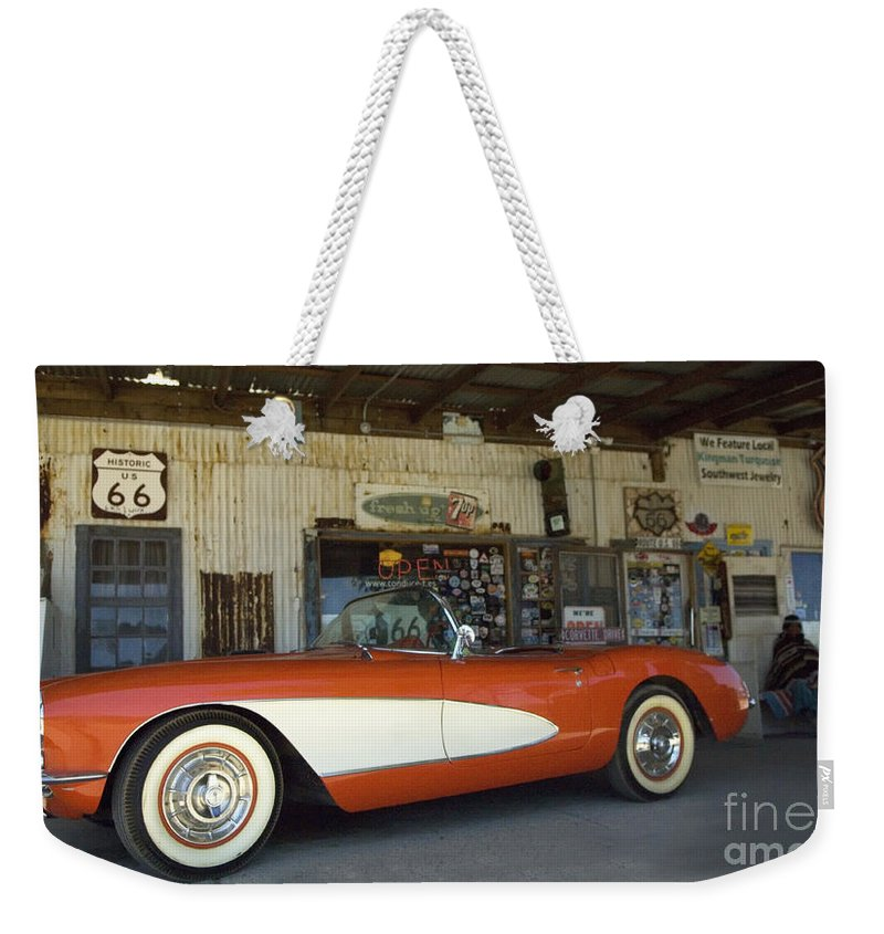 Flames Weekender Tote Bag featuring the photograph Route 66 Corvette by Bob Christopher