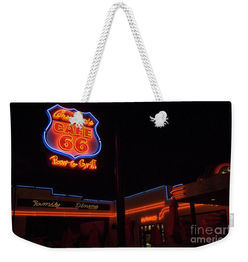 Flames Weekender Tote Bag featuring the photograph Route 66 Cruisers by Bob Christopher