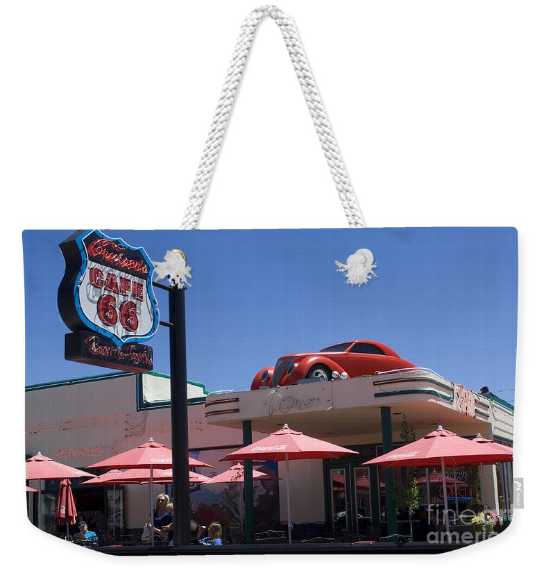 Wurlitzer Weekender Tote Bag featuring the photograph Route 66 Cruisers Williams Arizona by Bob Christopher