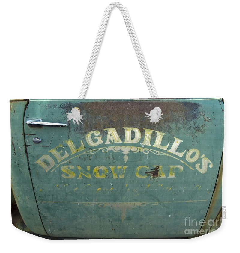 Wurlitzer Weekender Tote Bag featuring the photograph Route 66 Del Gadillos by Bob Christopher