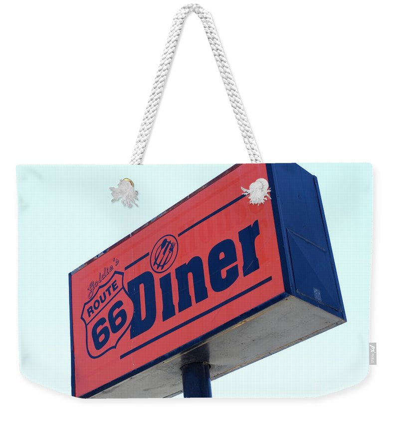 Wurlitzer Weekender Tote Bag featuring the photograph Route 66 Diner Sign by Bob Christopher