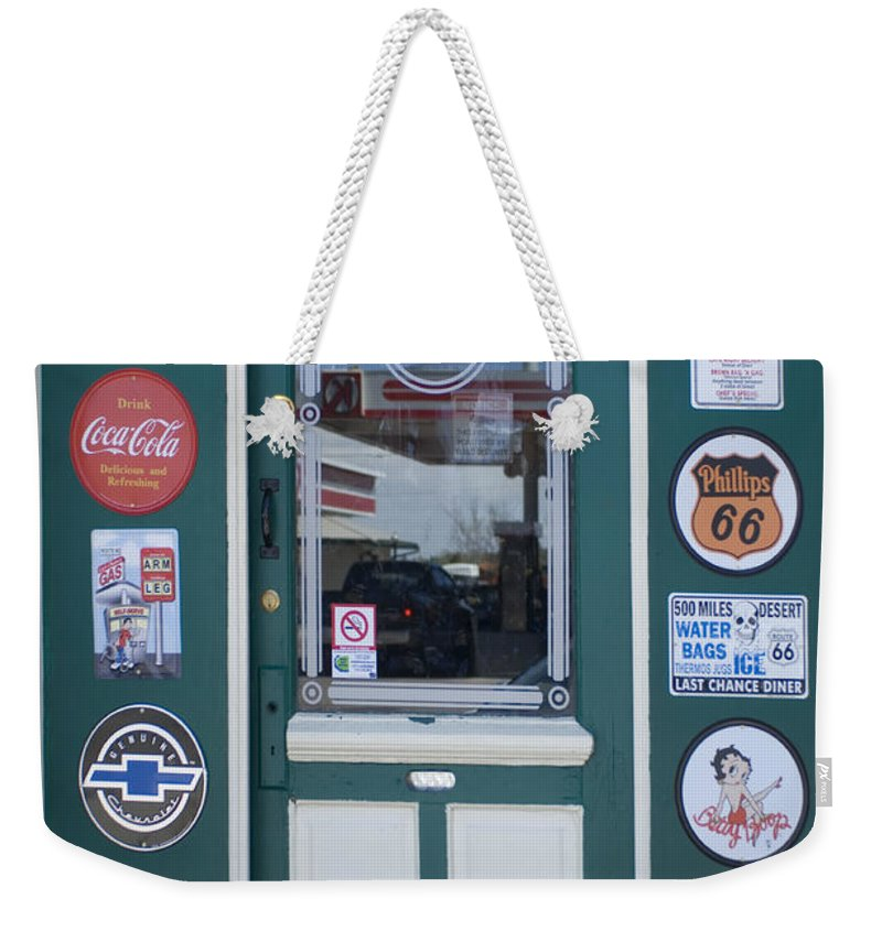 Wurlitzer Weekender Tote Bag featuring the photograph Route 66 Doorway by Bob Christopher