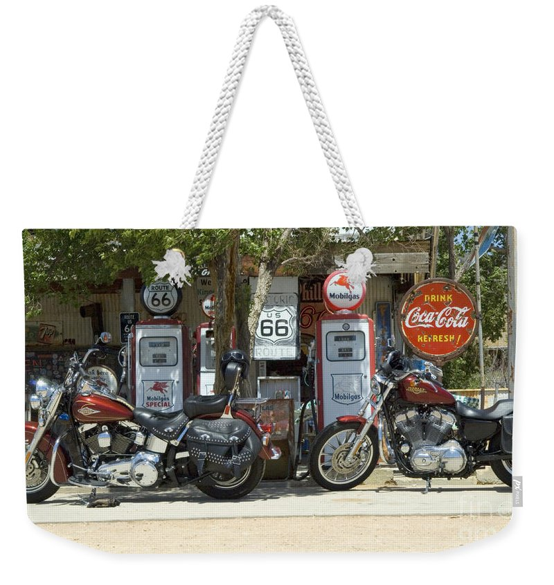 Flames Weekender Tote Bag featuring the photograph Route 66 Gas Pumps by Bob Christopher