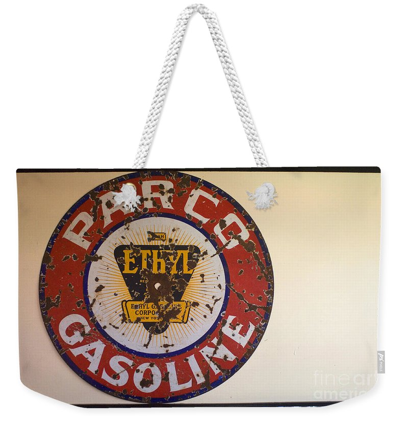 Route 66 Weekender Tote Bag featuring the photograph Route 66 Gasoline Sign by Bob Christopher