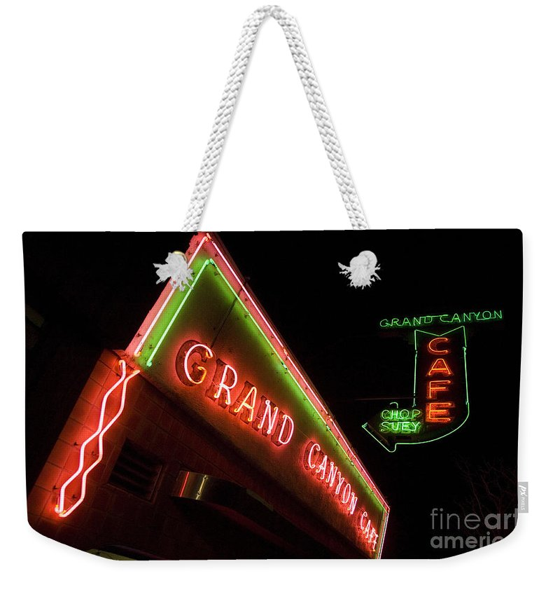 Classic Car Weekender Tote Bag featuring the photograph Route 66 Grand Canyon Neon by Bob Christopher