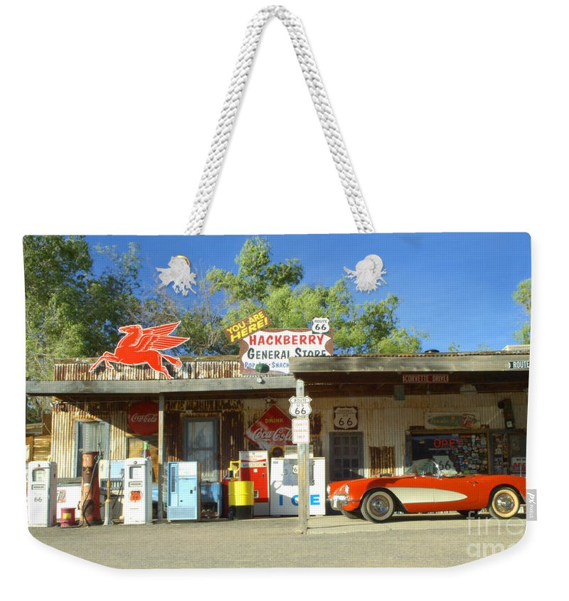 Classic Car Weekender Tote Bag featuring the photograph Route 66 Hackberry Arizona by Bob Christopher