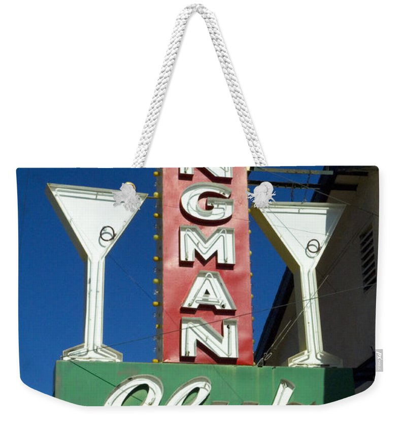 Flames Weekender Tote Bag featuring the photograph Route 66 Kingman Club by Bob Christopher