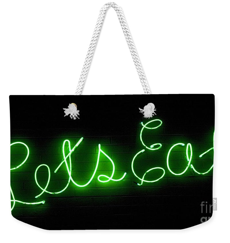 Lets Eat Weekender Tote Bag featuring the photograph Route 66 Lets Eat by Bob Christopher