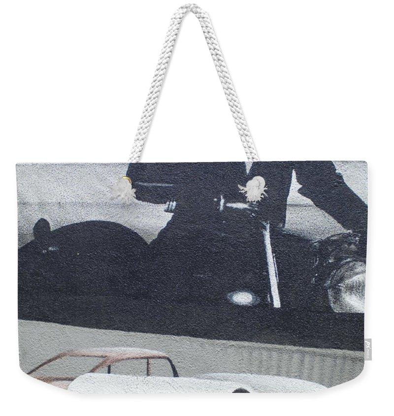 Wurlitzer Weekender Tote Bag featuring the photograph Route 66 Marlon Brando Mural by Bob Christopher