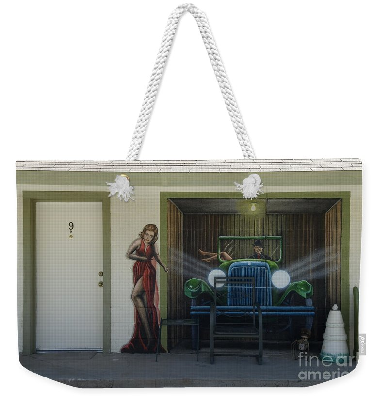 Flames Weekender Tote Bag featuring the photograph Route 66 Motel Arizona by Bob Christopher