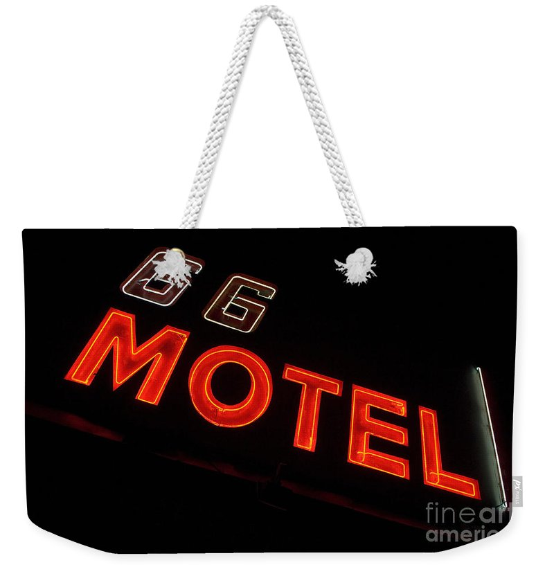 Classic Car Weekender Tote Bag featuring the photograph Route 66 Motel Neon by Bob Christopher