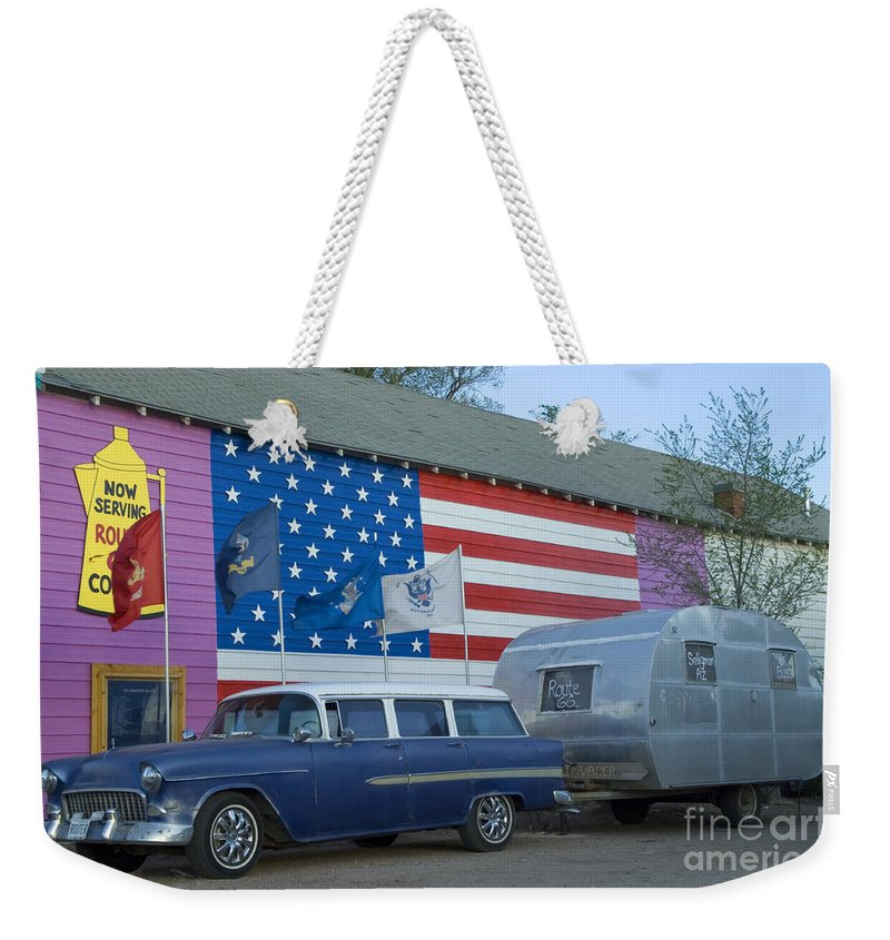 Flames Weekender Tote Bag featuring the photograph Route 66 Nomad by Bob Christopher