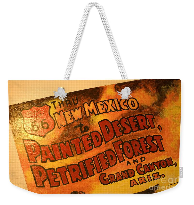 Route 66 Weekender Tote Bag featuring the photograph Route 66 Vintage Sign 5 by Bob Christopher