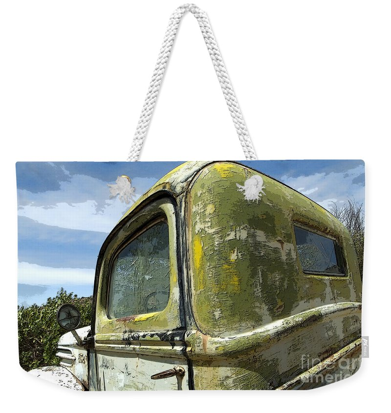 Flames Weekender Tote Bag featuring the photograph Route 66 Vintage Truck by Bob Christopher
