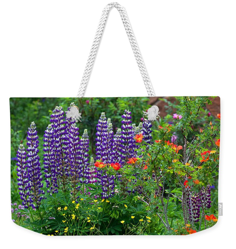 Flowers Photograph; Lupine Canvas Print Weekender Tote Bag featuring the photograph Royal Spires by Jim Garrison
