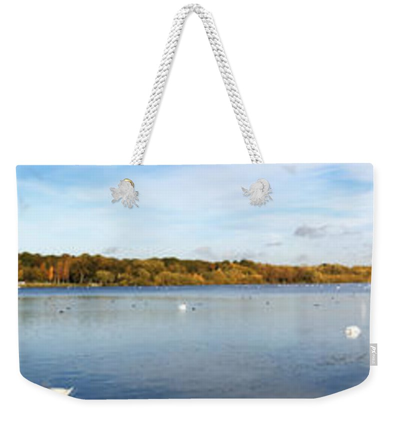 Grand Junction Weekender Tote Bag featuring the photograph Ruislip Lido In Autumn by Chris Day