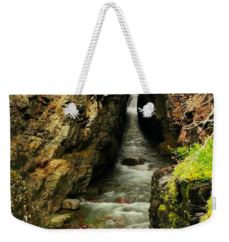 Water Weekender Tote Bag featuring the photograph Rushing Through The Chasm by Jeff Swan