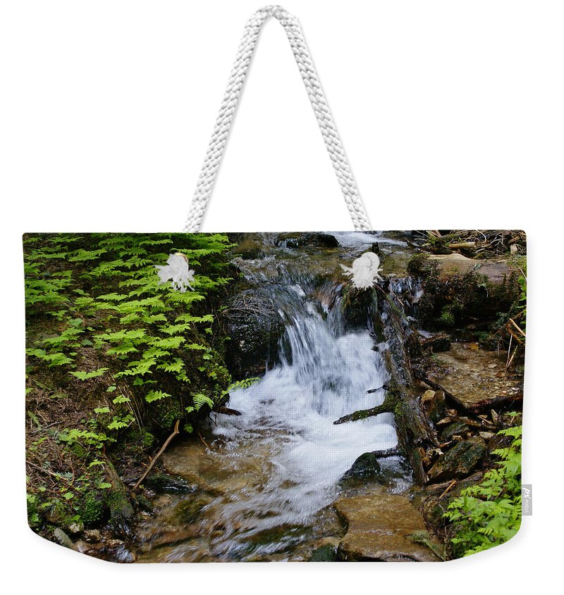 Nature Weekender Tote Bag featuring the photograph Rushing Water On Mt Spokane by Ben Upham III
