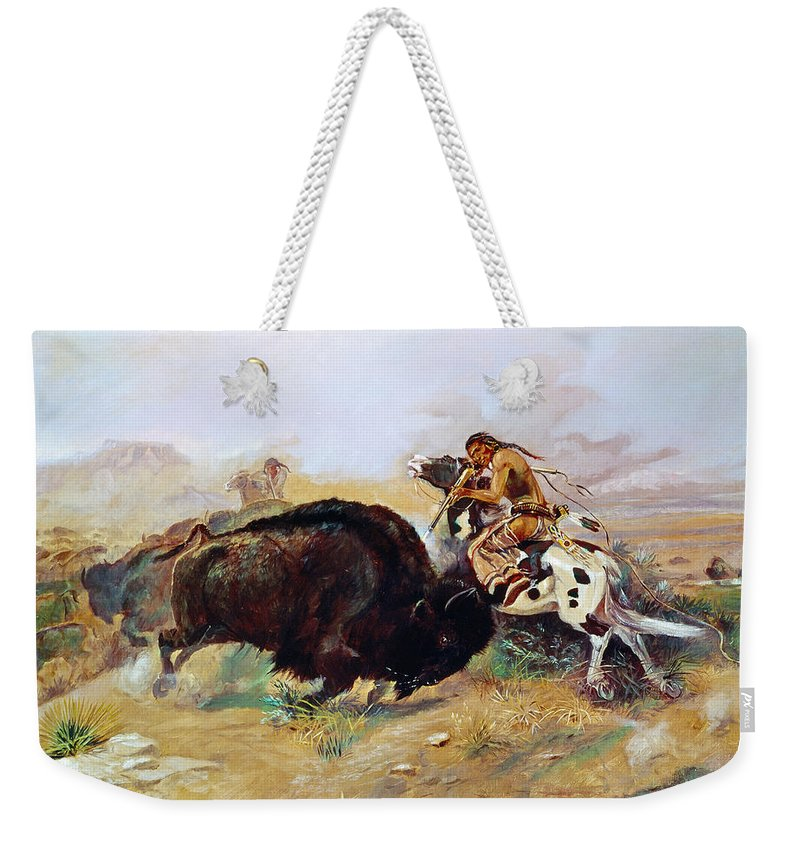 1891 Weekender Tote Bag featuring the photograph Russell: Buffalo Hunt by Granger