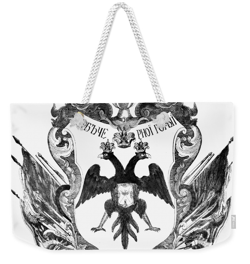 19th Century Weekender Tote Bag featuring the photograph Russia: Coat Of Arms by Granger