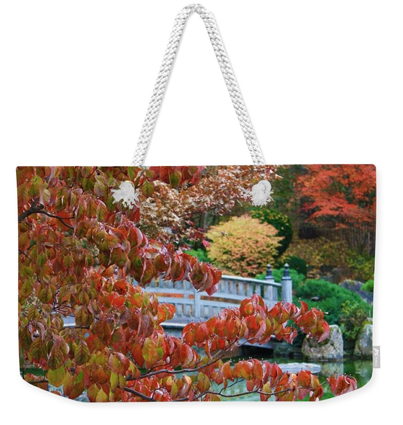 Autumn Landscape Weekender Tote Bag featuring the photograph Rust Colored Leaves Over Autumn Pond by Carol Groenen
