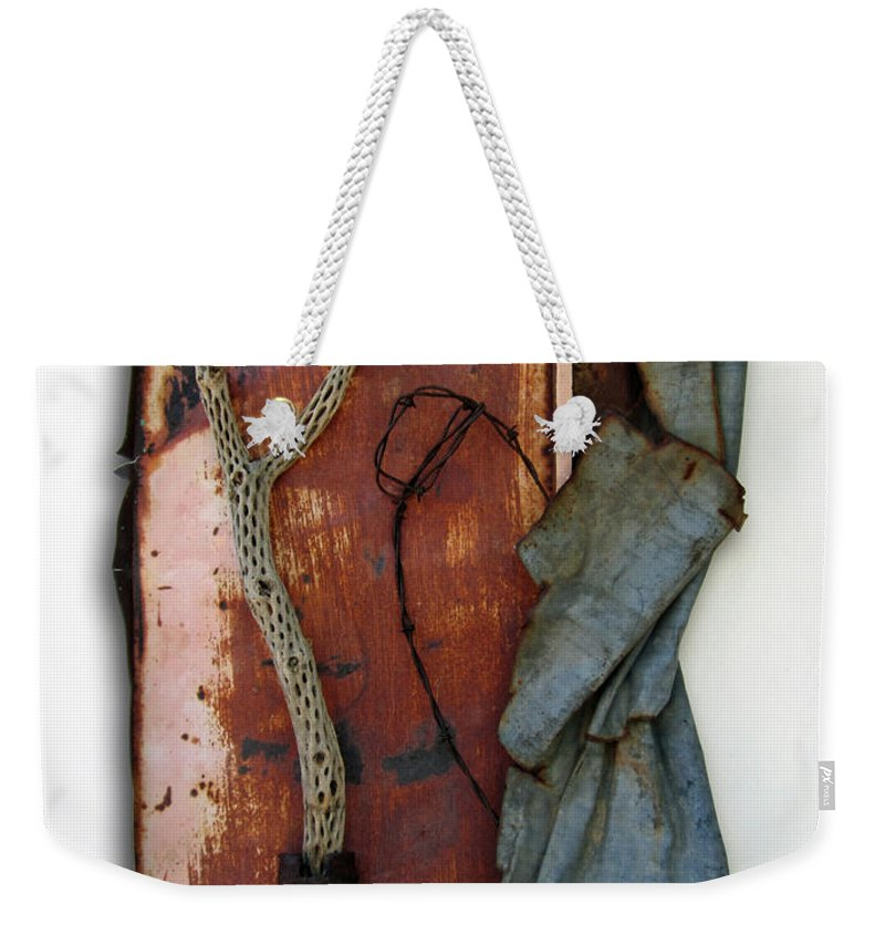 Assemblage Sculptures Weekender Tote Bag featuring the sculpture Rustic Elegance by Snake Jagger