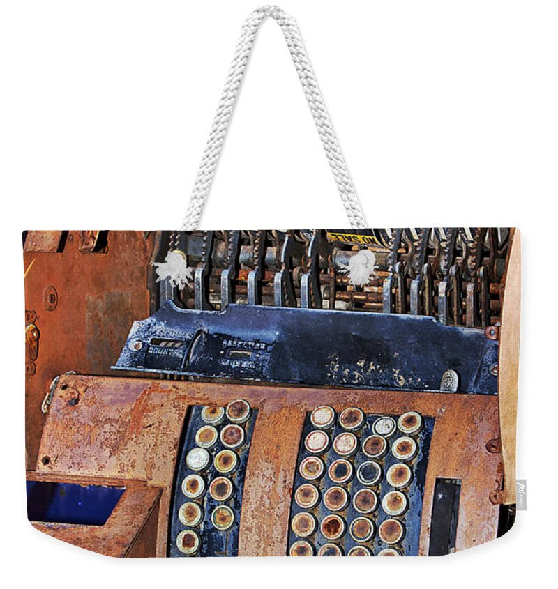 Register Weekender Tote Bag featuring the photograph Rusty Cash Register by Phyllis Denton