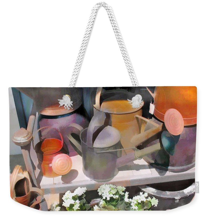 Weekender Tote Bag featuring the painting Rusty Watering Cans by Elaine Plesser