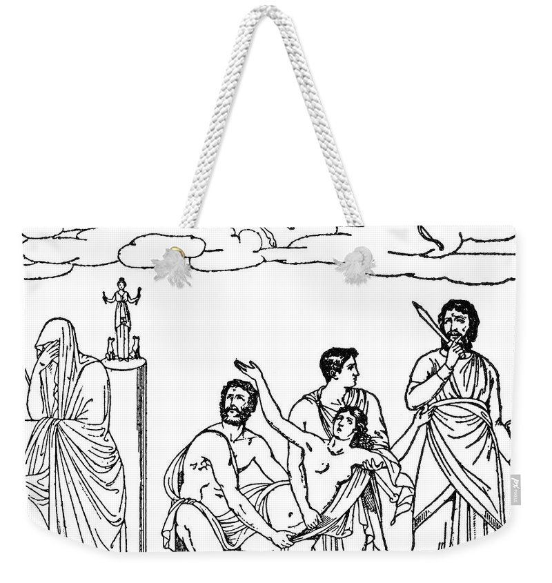 Engraving Weekender Tote Bag featuring the photograph Sacrifice Of Iphigenia by Granger