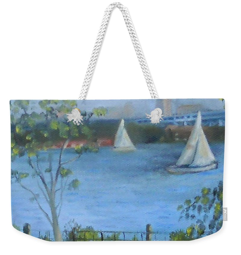 Sailboats Weekender Tote Bag featuring the painting Sailing The Delaware by Marlene Book