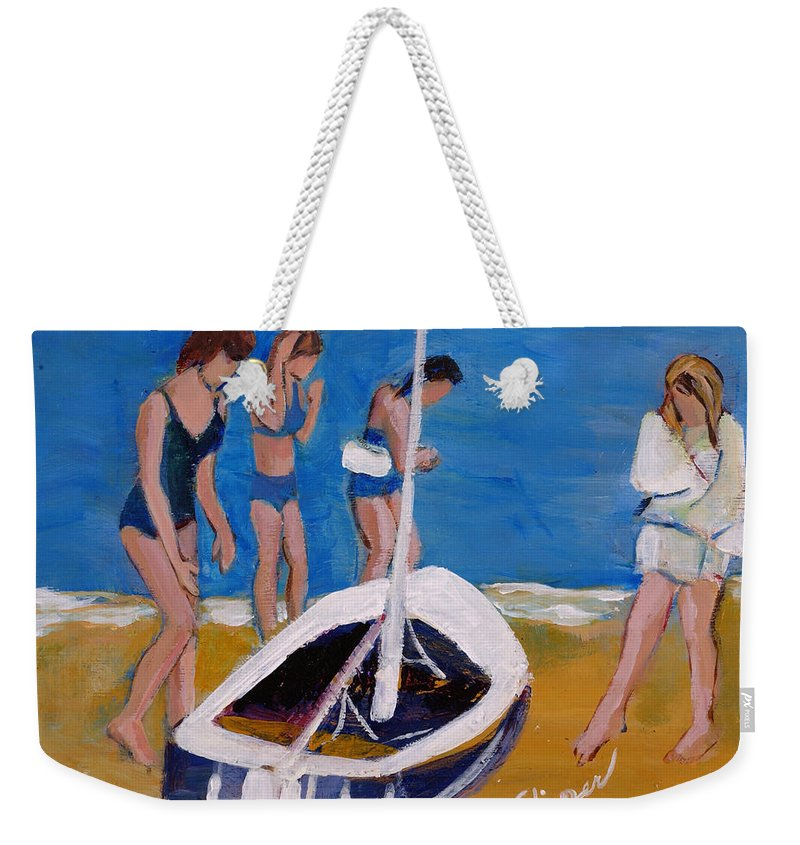 Three Young Women With Sail Boat Weekender Tote Bag featuring the painting Sailing The Wildflower by Betty Pieper