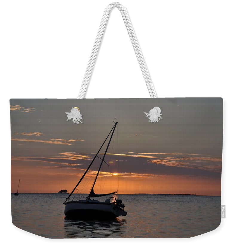 Sailor's Sunset Weekender Tote Bag featuring the photograph Sailor's Sunset by Bill Cannon