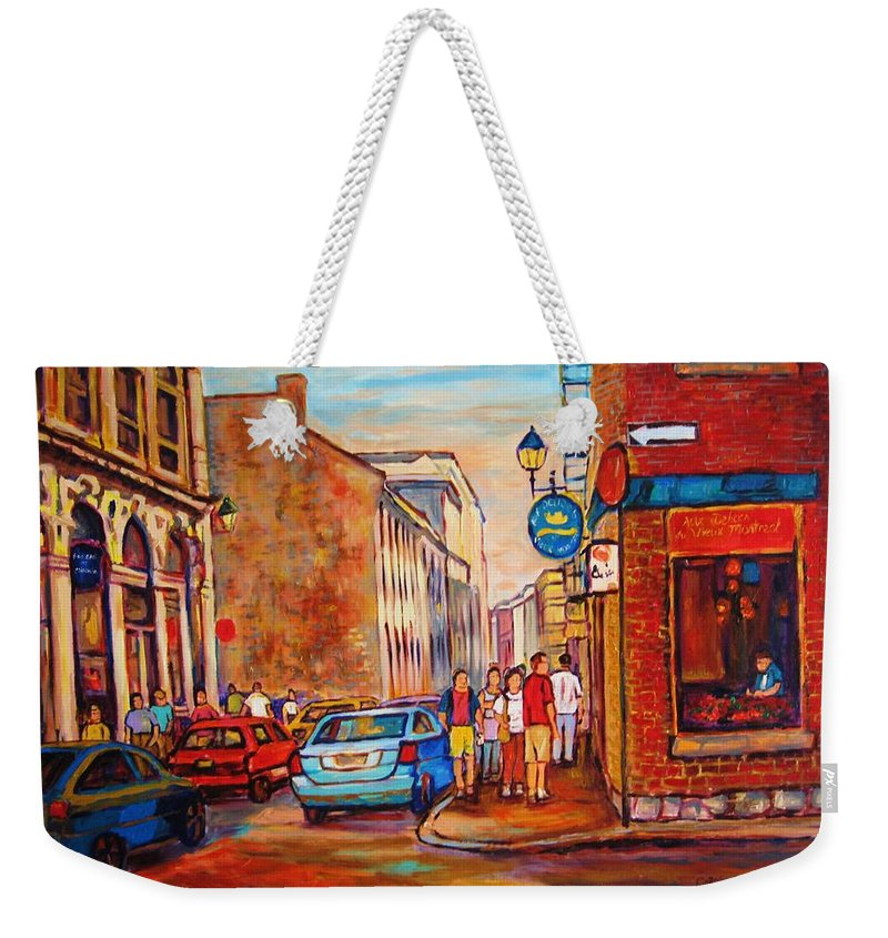 Streetscene Weekender Tote Bag featuring the painting Saint Paul Street Montreal by Carole Spandau