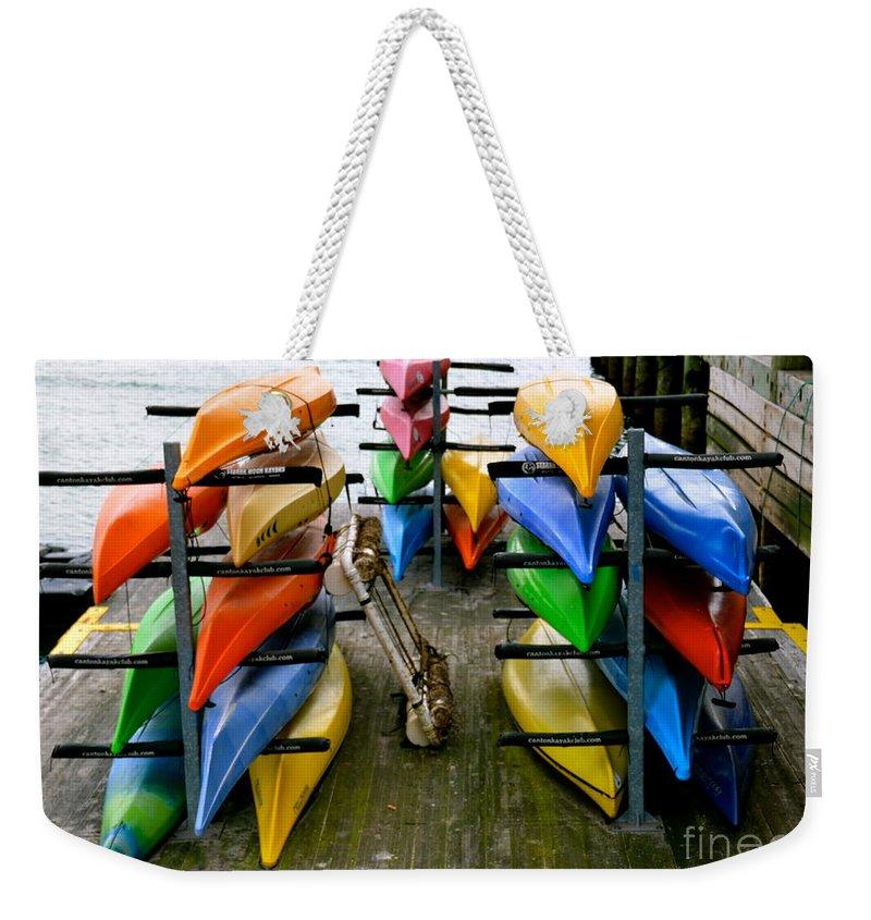 Kayak Weekender Tote Bag featuring the photograph Salma Kayaks by Debbi Granruth