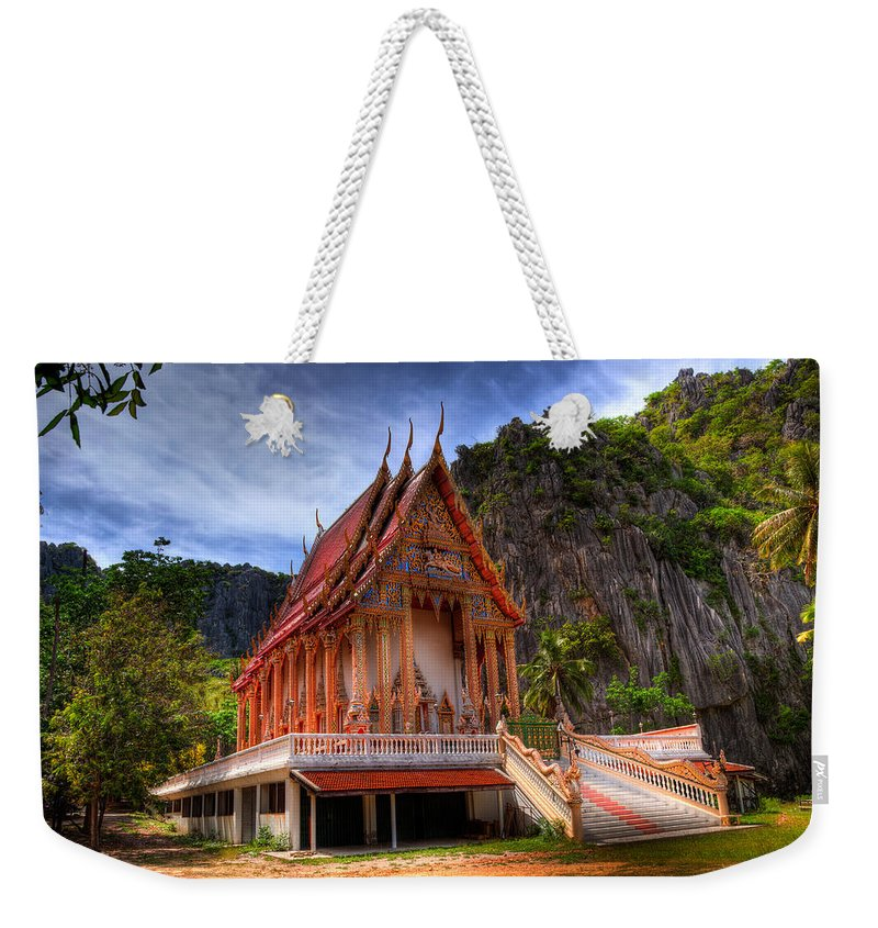 Temple Weekender Tote Bag featuring the photograph Sam Roi Yot Temple by Adrian Evans