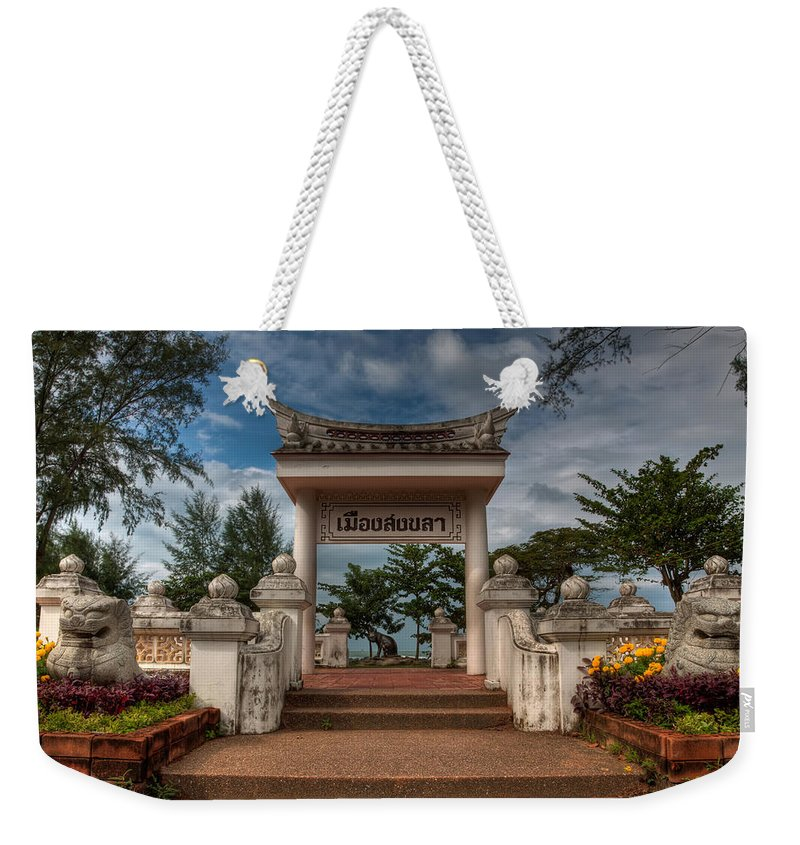 Architecture Weekender Tote Bag featuring the photograph Samila Garden by Adrian Evans