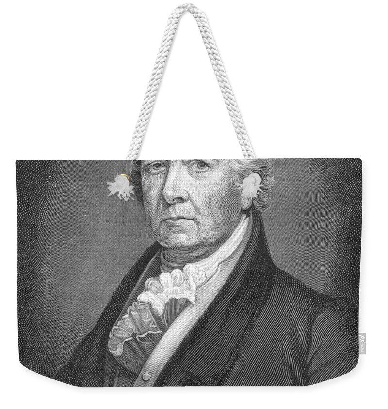 19th Century Weekender Tote Bag featuring the photograph Samuel Latham Mitchill by Granger