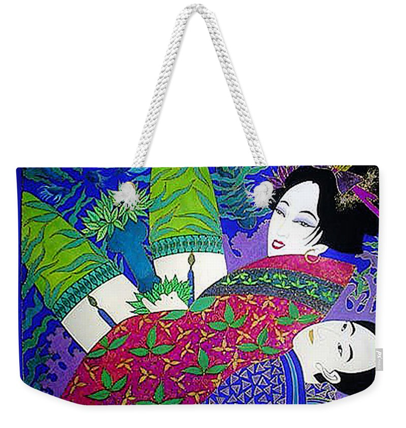 Erotic Weekender Tote Bag featuring the painting Samurai And Geisha Pillowing by Dulcie Dee